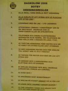 Dagkoloni 2008 ordningsregler