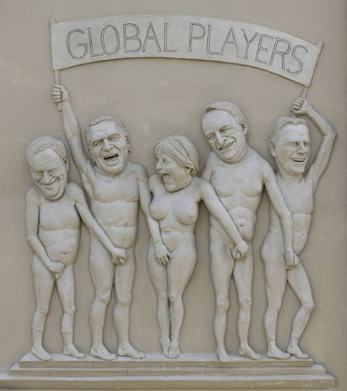 Carved relief by Peter Lenk with naked German politicians grabbing each other&#039;s genitals. From left to right, former German Finance Minister Hans Eichel, former Chancellor Gerhard Schrder, current Chancellor Angela Merkel, former governor of Bavaria Edmund Stoiber and current leader of the Free Democrats, Guido Westerwelle.