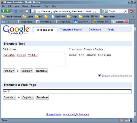 funny google. Finnish Google translation