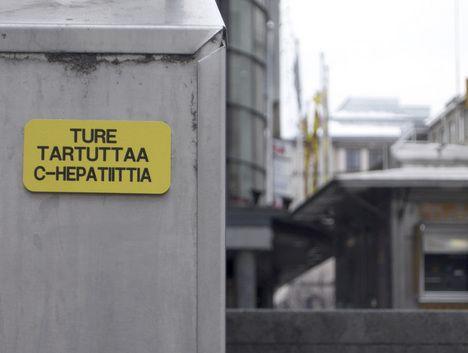 Ture tartuttaa C-Hepatiittia: Kyltti Jyväskylässa 2009-03