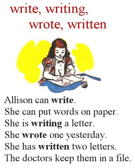 Allison can write. She can put words on paper. She is writing a letter. She wrote one yesterday. She has written two letters. The doctors keep them in a file.