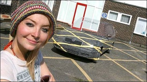 Design student Sara Watson's Skoda car illusion: painted to merge with surroundings (University of Central Lancashire)