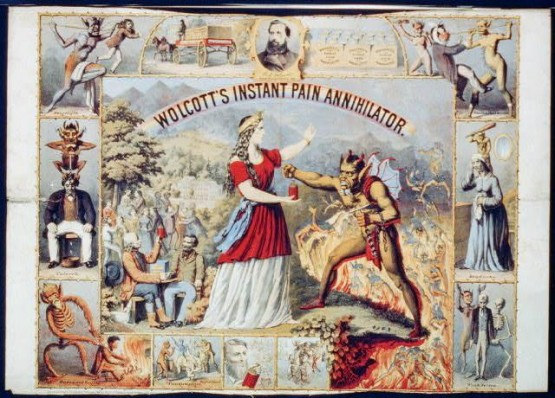 Wolcott's Instant Pain Annihilator -  'A speedy & permanent cure for headache, toothache, neuralgia, catarrh and weak nerves'