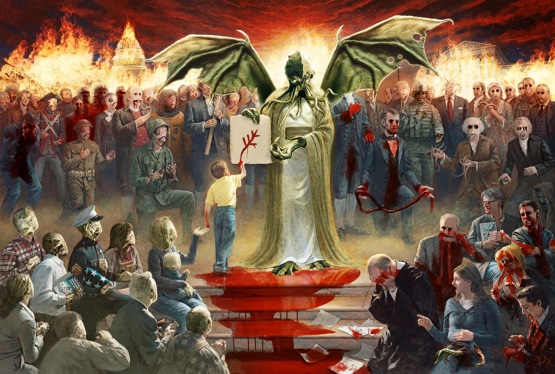 mcnaughton fine art one nation under god parody jesus as cthulhu with blood and monsters