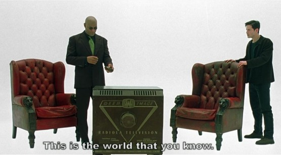 'This is the world that you know', screenshot from The Matrix (40 minutes, 35 seconds)