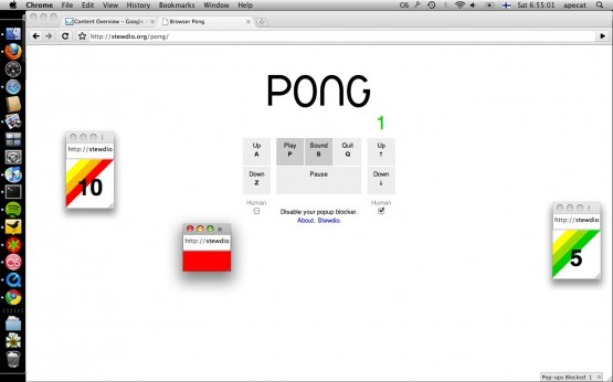 Stewdio: browser Pong, a html5-game