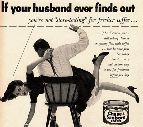 husband beating wife vintage ad chase sanborn coffee store-testing