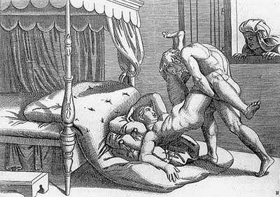 Illustration from 'I Modi' ('The Ways') by Pietro Aretino and Giulio Romano, a 16th century work of erotic fiction which according to some helped popularize print and literature